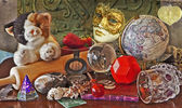 Mixed tools, toys and gadgets with mask — Stock Photo