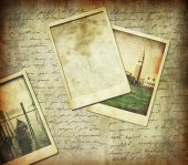 Letter and old images background — Stockfoto
