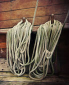 Ropes on an old sailboat — Stock Photo