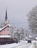 Austrian countryside under heavy snowfall — Stock Photo