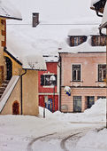 Koetschach-Mauthen Austrian village on winter time with snowfall — Stock Photo