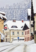 Koetschach-Mauthen Austrian village on winter time with snowstorm — Stock Photo