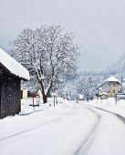 Austrian Alpine route on winter time with snowfall — Stock Photo