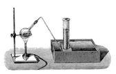 Vintage chemistry engraving   extracting oxygen from potassium chlorate — Stock Photo