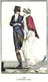 Vintage French fashion illustrated, 1800 — ストック写真