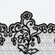 Seamless horizontal lace ribbon with flowers. Black lace on a light background. — 图库矢量图片