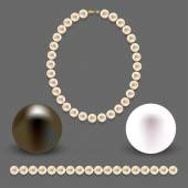 A collection of objects made ??of pearls on gray background — Stock Vector
