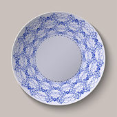 Round blue floral ornament ethnic style. Pattern shown on the ceramic plate. — Stok Vektör
