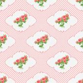 Seamless pattern with a bouquet of roses in the vignette and polka dots. — Vettoriale Stock