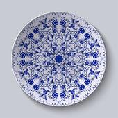 Blue floral circular pattern. Decorative ceramic plate. — Stockvektor