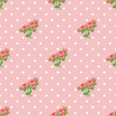 Seamless pattern with roses and polka dots. — Stock Vector
