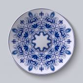 Blue decorative ornament. Pattern is applied on a ceramic plate. — Vector de stock