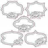 Set of vintage frames with roses, isolated on white. — Stock Vector