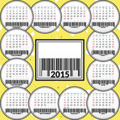 Calendar for 2015 on the background of cheese. — Stock Vector