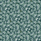 Seamless doodle. Simple floral pattern in winter blue-green tones. — Stock Vector