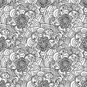 Seamless doodles pattern. Black and white fishnet flowers. — Stock Vector