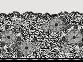 Lacy black seamless pattern of flower ribbon. — Stock Vector