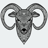 Ornamental head of goat or sheep - a symbol of new new year 2015. Black-and-white concept. — Stock Vector