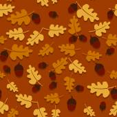 Seamless autumn background with oak leaves and acorns. — Stock Vector