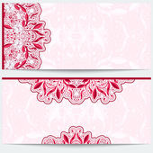 Greeting card with a pink floral pattern. Gentle east ornament a light background. — Stock Vector