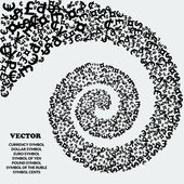 Spiral of black icons of various currencies. — Stock Vector