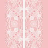 White lace seamless pattern of broad vertical floral tape. — Stok Vektör