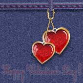 "Blue denim background with keyfobs in the form of glass hearts with inscription ""Happy Valentine's Day!"" — ストックベクタ"