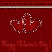 """Red denim background with embroidered hearts and the words """"Happy Valentine's Day!"""" — Stock Vector"""