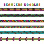Colored seamless doodle border line. — Vetor de Stock  #63098855