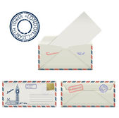 Set of envelopes from London with a painted the Elizabeth tower and postmark. Stylization. — Stockvector