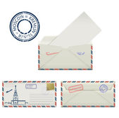 Set of envelopes from Moscow with a painted the Kremlin tower and postmark. Stylization. — Stockvector