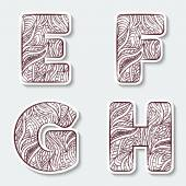 Set of capital letters  E, F, G, H from the alphabet with abstract pattern in tribal Indian style.  — Stock Vector