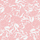 Unusual Pink seamless Pattern background with white intertwined flowers. — Stock Vector