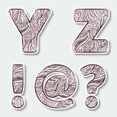 Set of capital letters  Y, Z from the alphabet with abstract pattern in tribal Indian style.  — Stock Vector