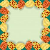 Påsk ram med målade ägg. — Stockvektor