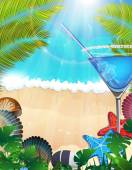 Cocktail with palm branches on tropical background — Stock Vector