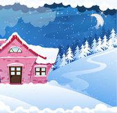 Casa cubierto de nieve — Vector de stock