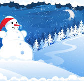 Snowman with red hat — Stock Vector