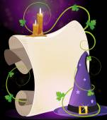 Witch hat and burning candles — Stock Vector
