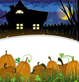 Pumpkins and house  — Stock Vector