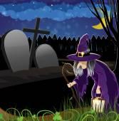 墓地に邪悪な魔女 — ストックベクタ