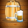 Wooden barrel and a glass of beer — Stock Vector #55145563