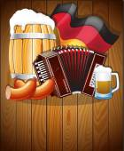 Oktoberfest symbols on a wooden background — Stock Vector