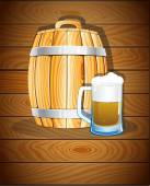 Wooden barrel and a glass of beer — Stock Vector