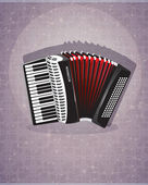 Accordion with red bellows — Stock Vector