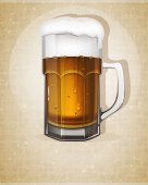 Beer mug with handle — Stock Vector