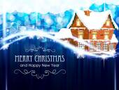 Brick cottage  on a blue Christmas background — ストックベクタ