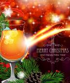 Cocktail on Christmas background — Cтоковый вектор