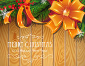 Christmas tree branches, bow and ribbons  — Vector de stock