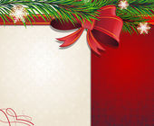 Christmas tree branches with red bow — Vector de stock